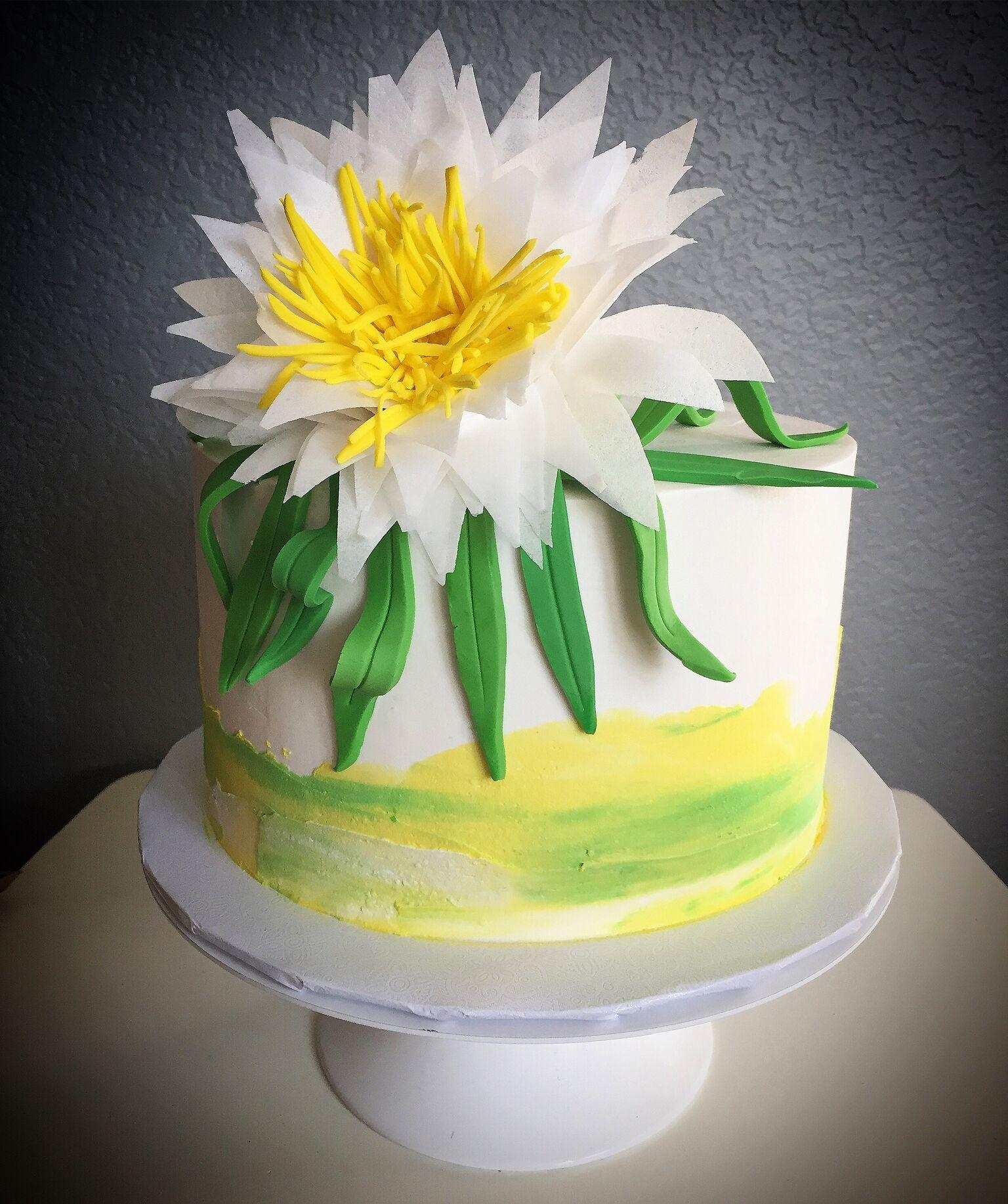 Yellow and white watercolor flower cake