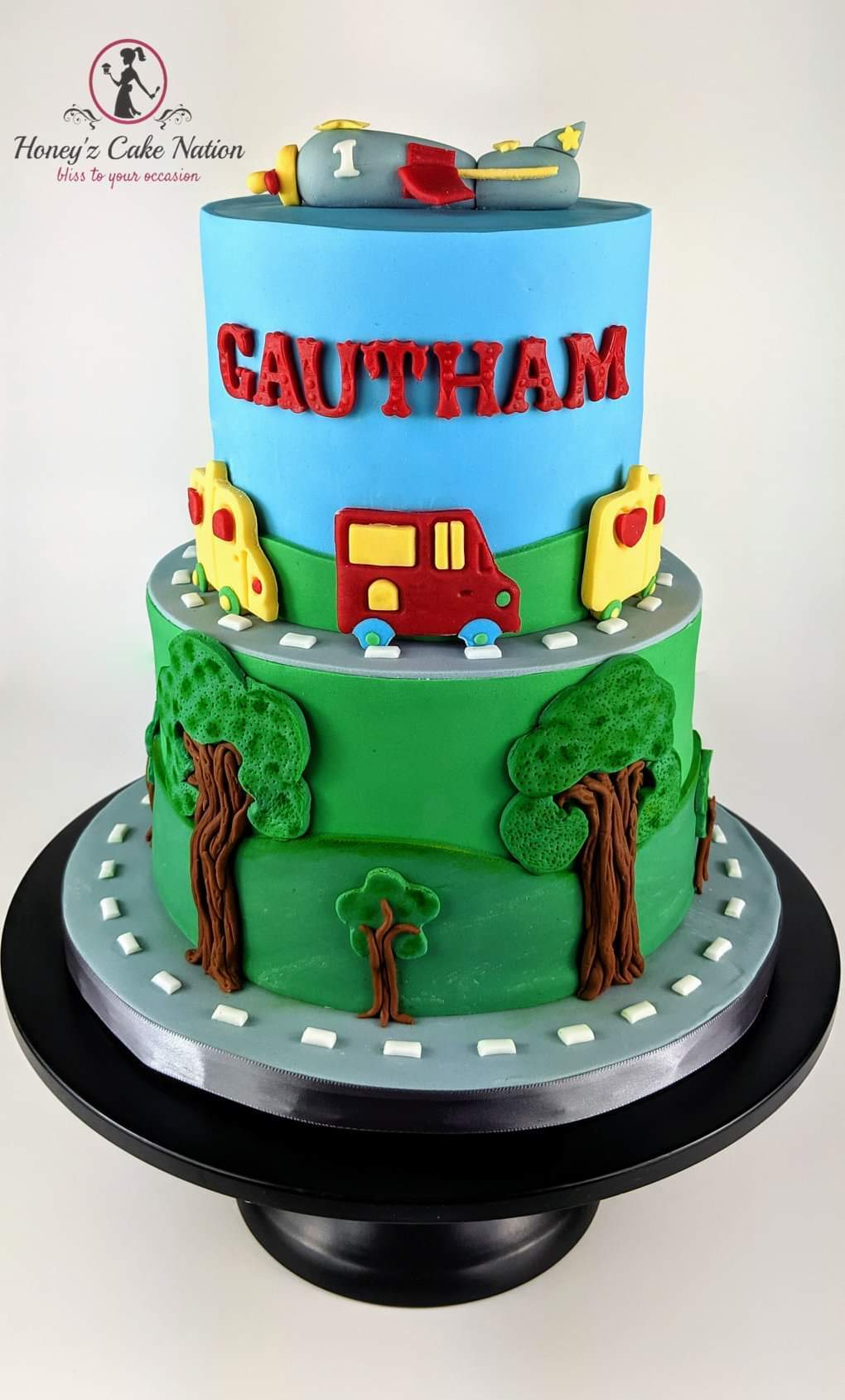 Airplane themed fondant birthday cake
