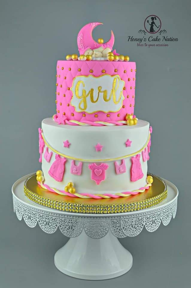 Moon and stars baby girl fondant cake