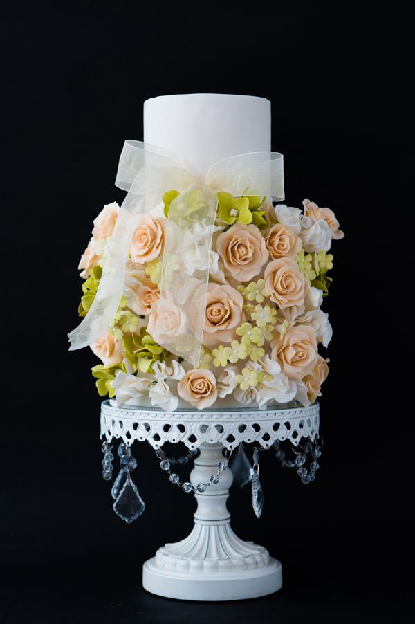 bouquet of pastel gum paste Flowers wedding cake