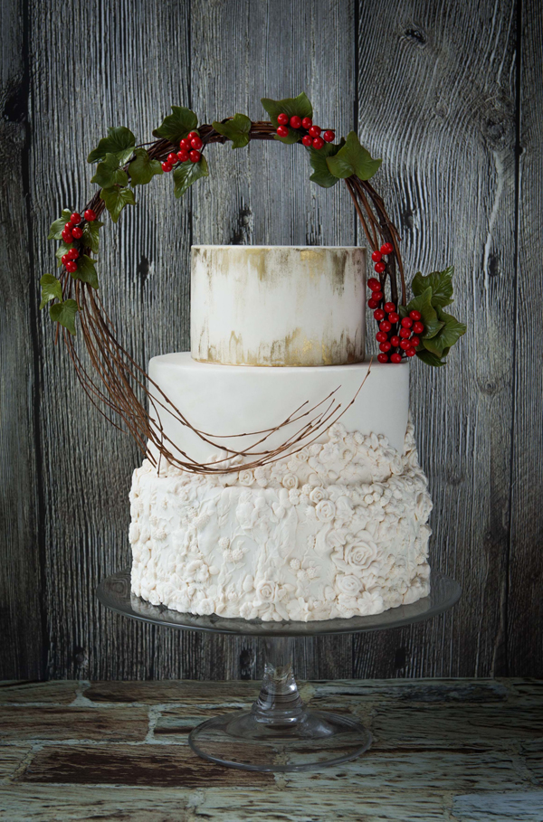 All white fondant Christmas wedding cake