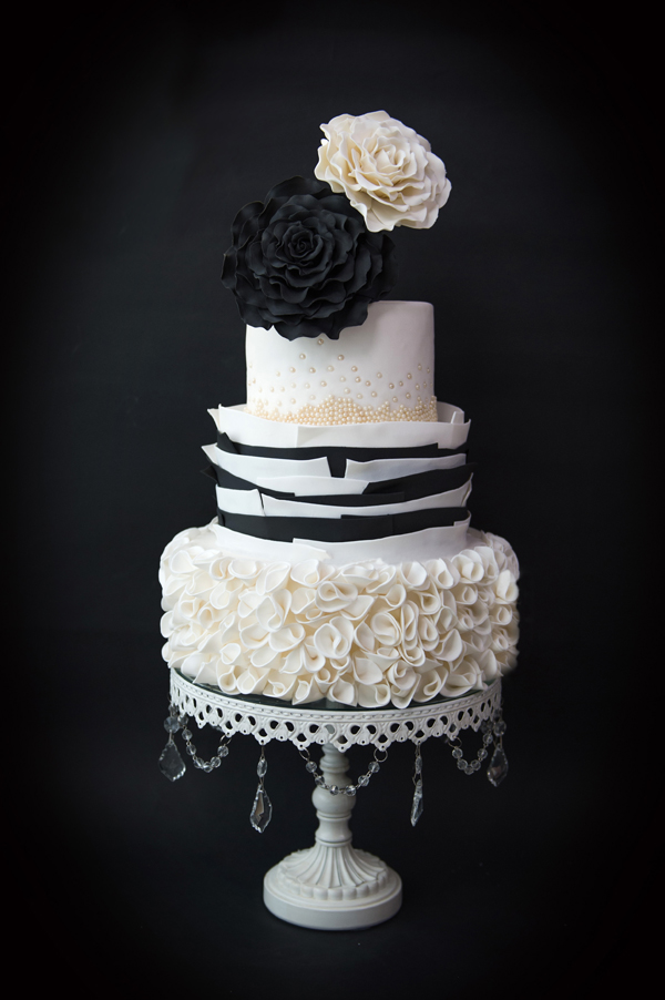 Black & White haute couture wedding cake