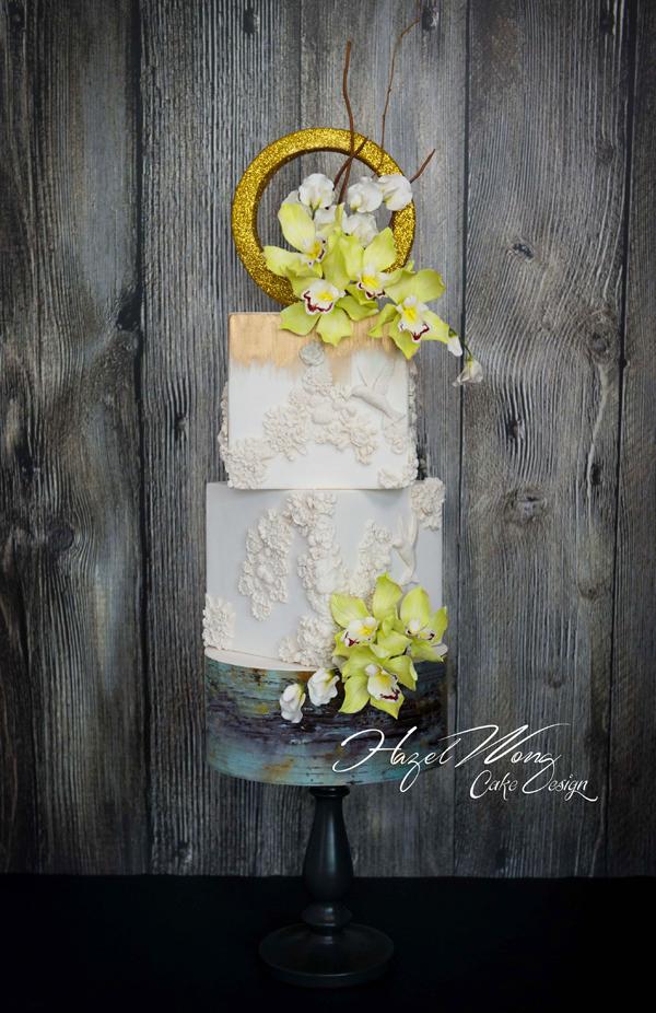 White Square fondant wedding cake with gum paste Cymbidium Orchid