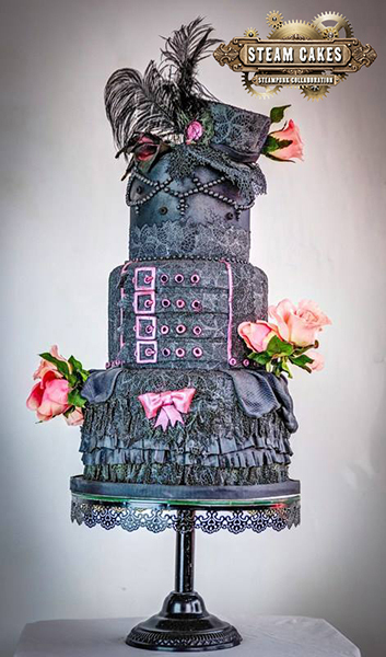 All black fondant steampunk cake with ruffles