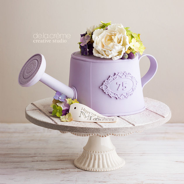 Lavender watering can cake