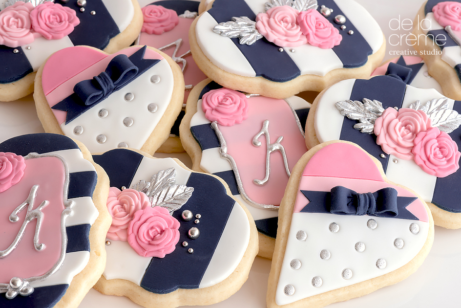 Navy white and pink elegant cookies