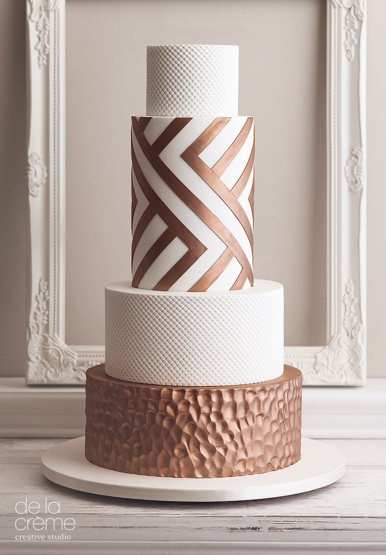 Copper & Ivory fondant Wedding cake