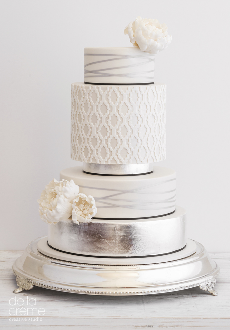 White & metallic silver fondant wedding cake