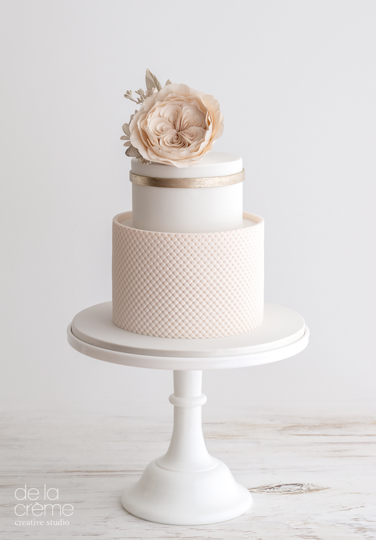All baby Pink and white fondant wedding cake