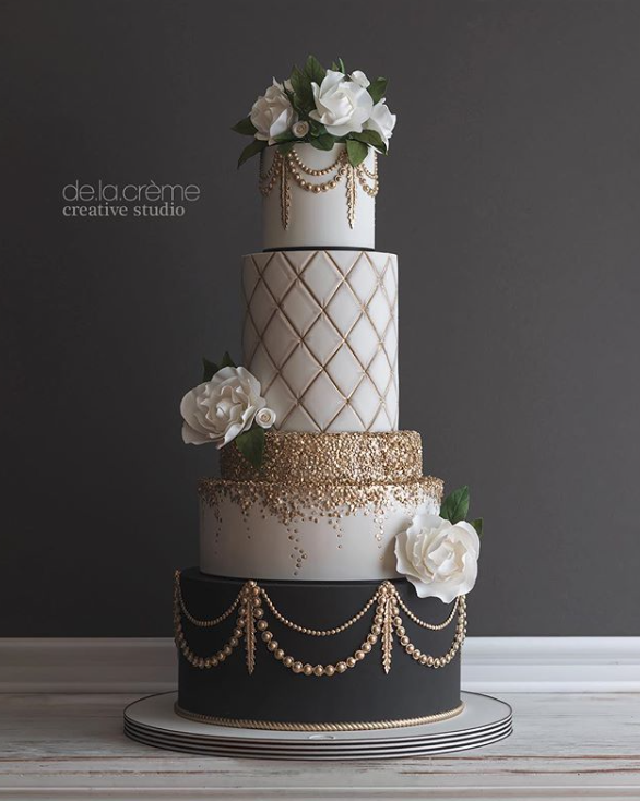 White and gold fondant wedding cake