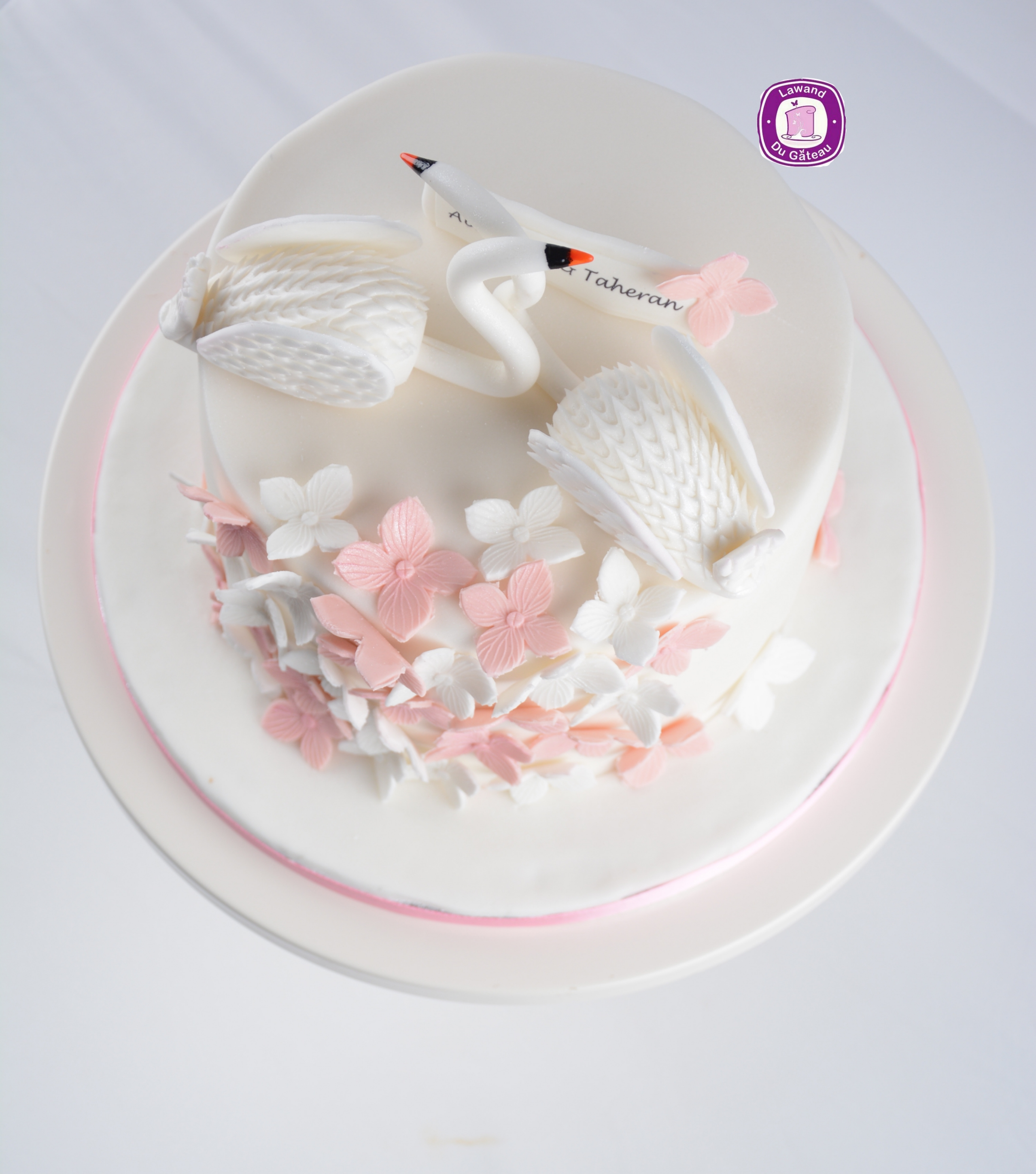 Mini white swan birthday cake