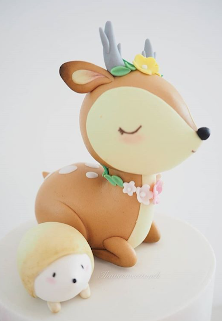 Woodland deer cake topper