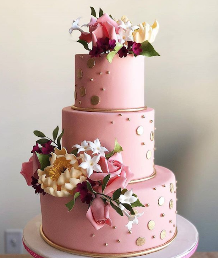 Baby pink with gold fondant wedding cake