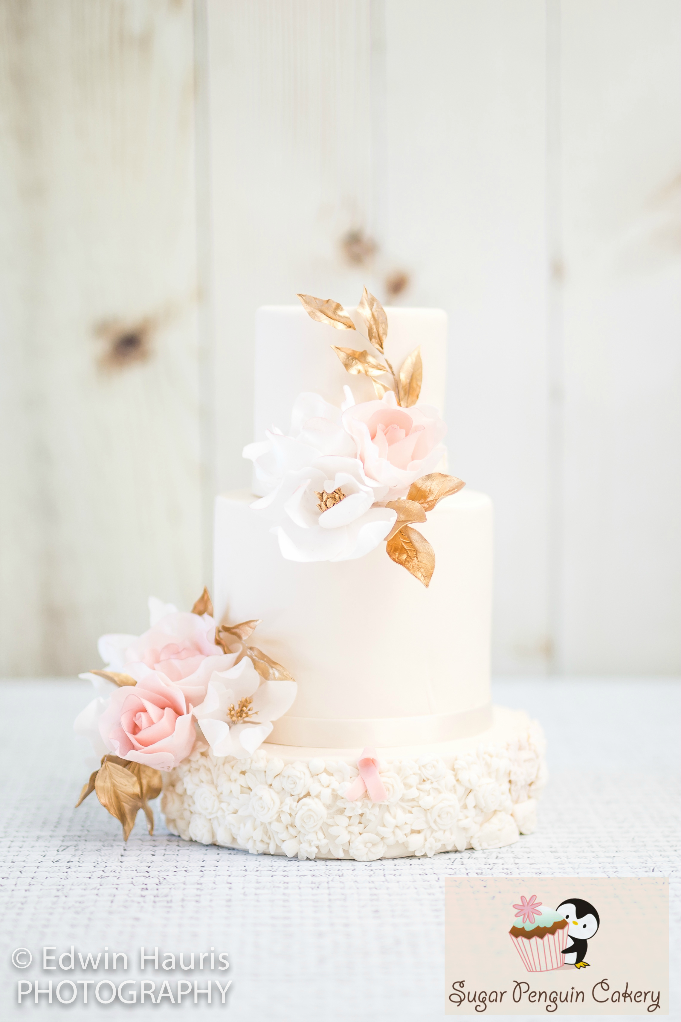 Baby Pink Wedding cake with bas relief texture