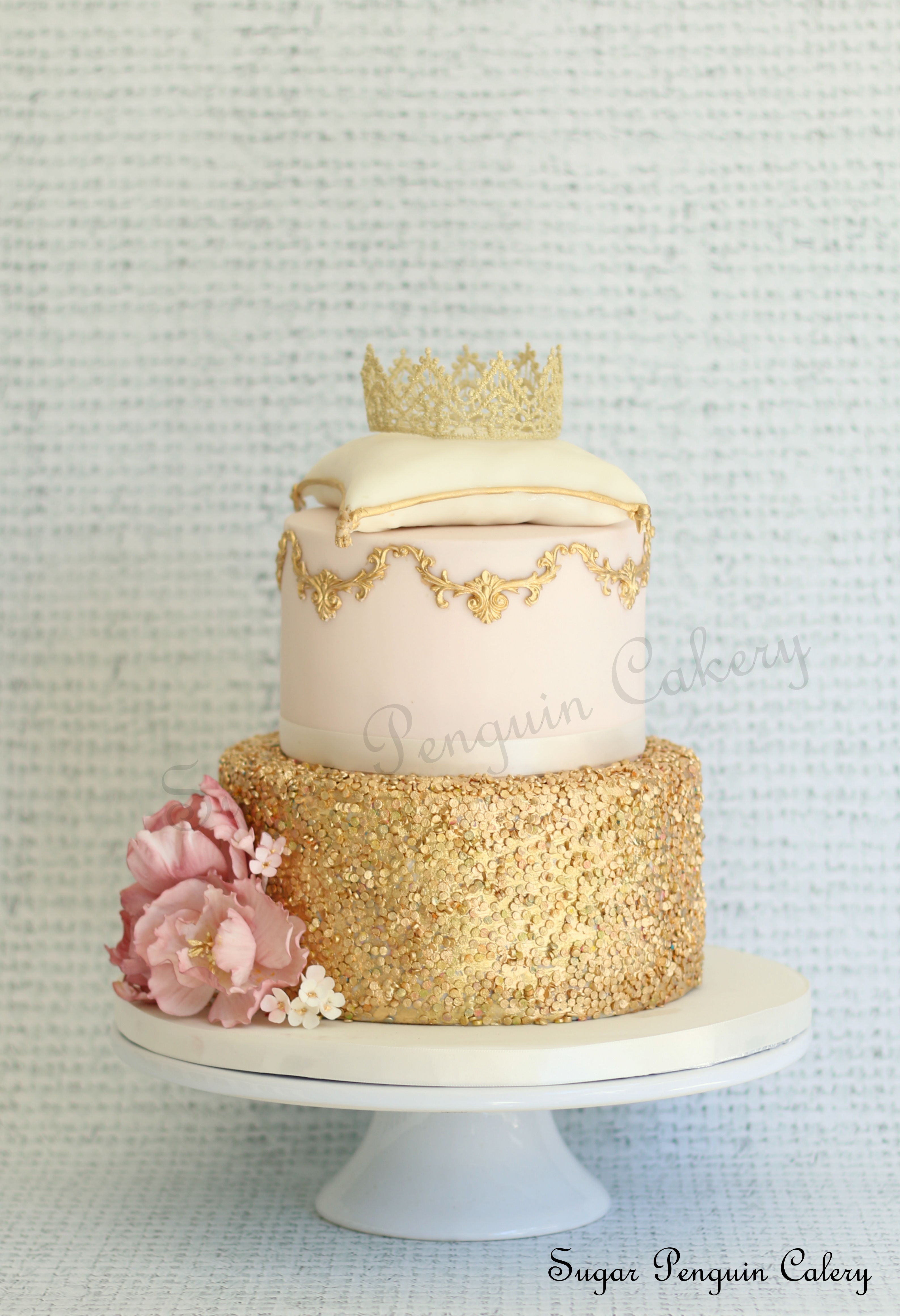 Gold and light Pink fondant Wedding cake