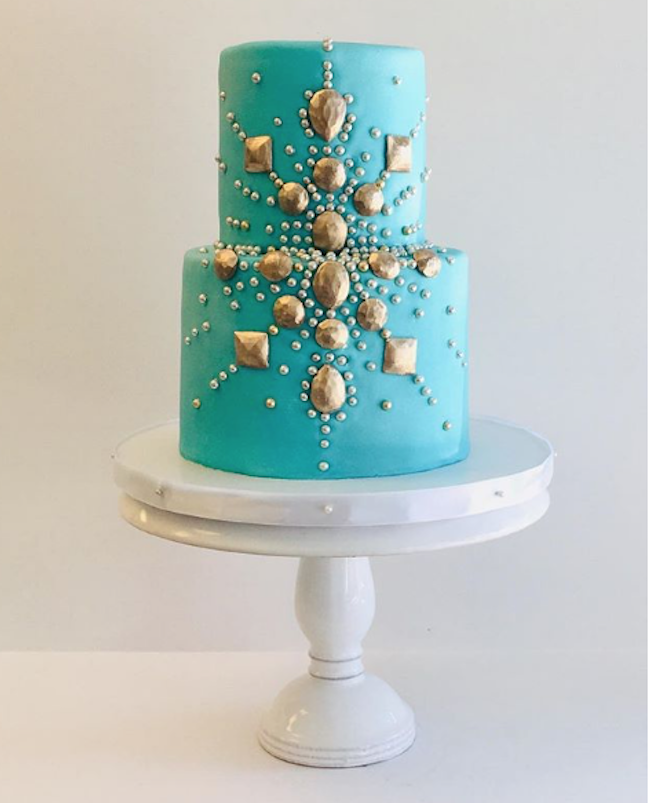 Turquoise and gold fondant wedding cake