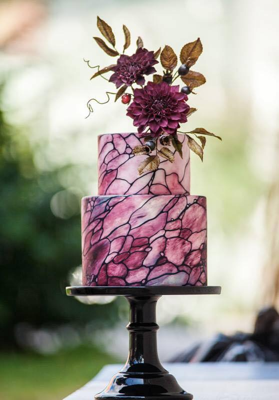 Shades of purple stained glass fondant wedding cake