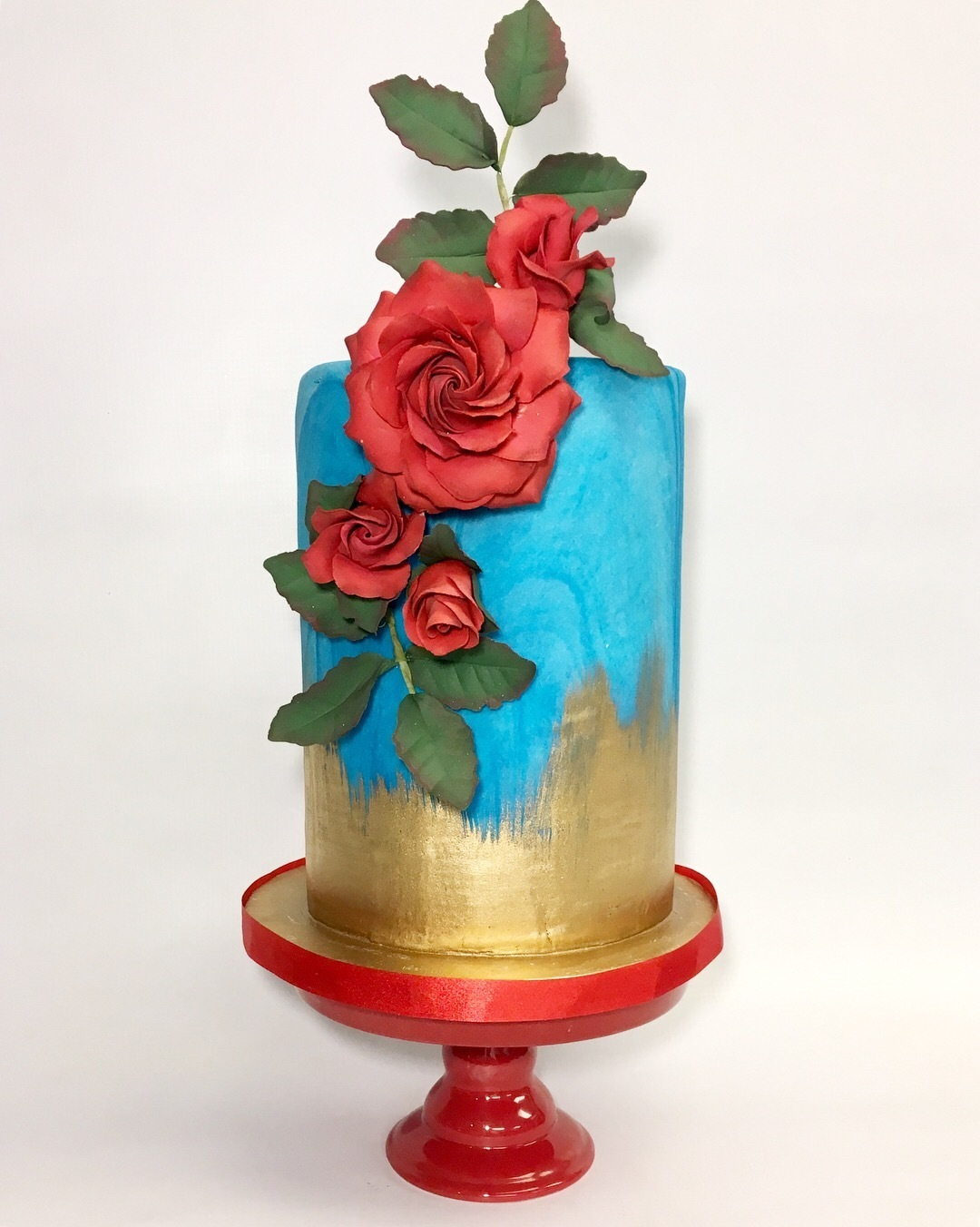 blue and gold fondant wedding cake
