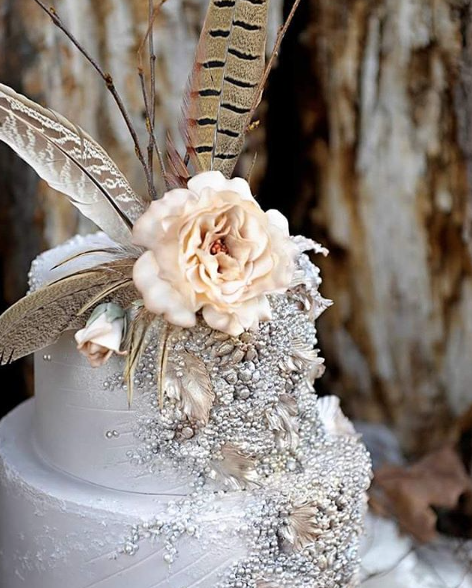 Boho Feather Wedding cake