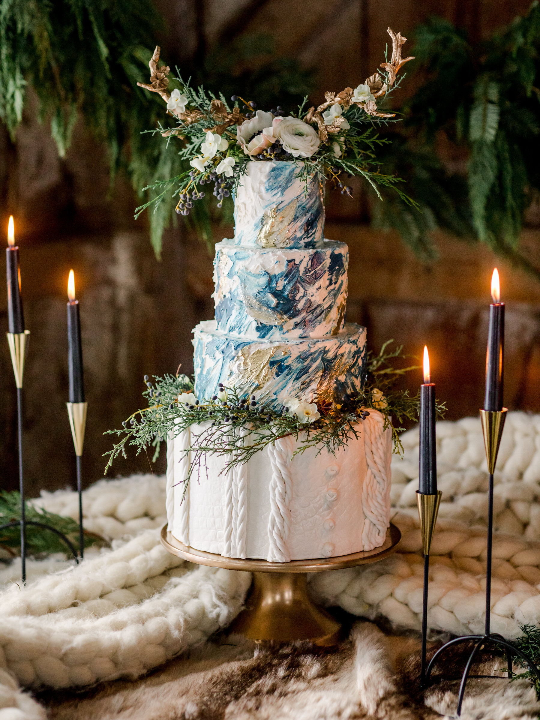 Floral boho fondant wedding cake