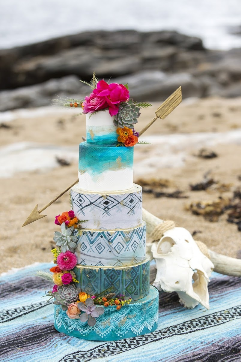 Bohemian Arrow wedding with hand painted patterns
