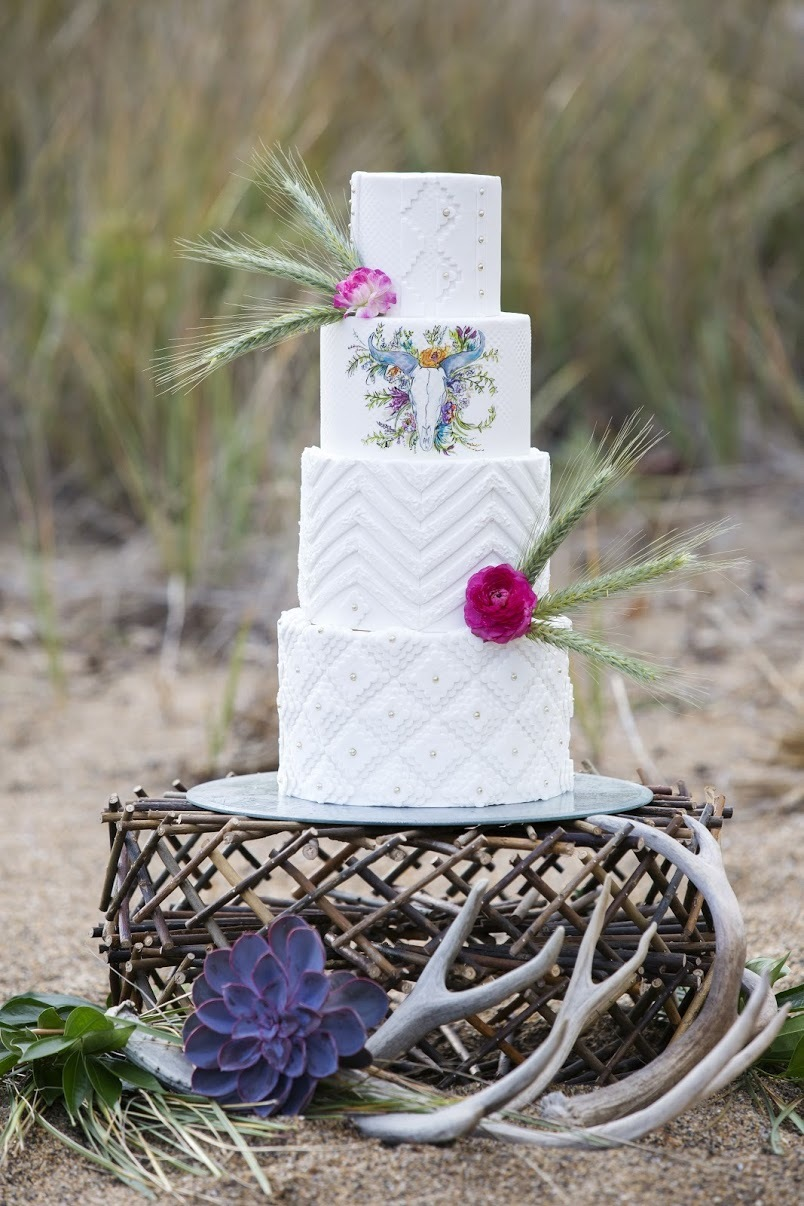 Bohemian White fondant Wedding cake