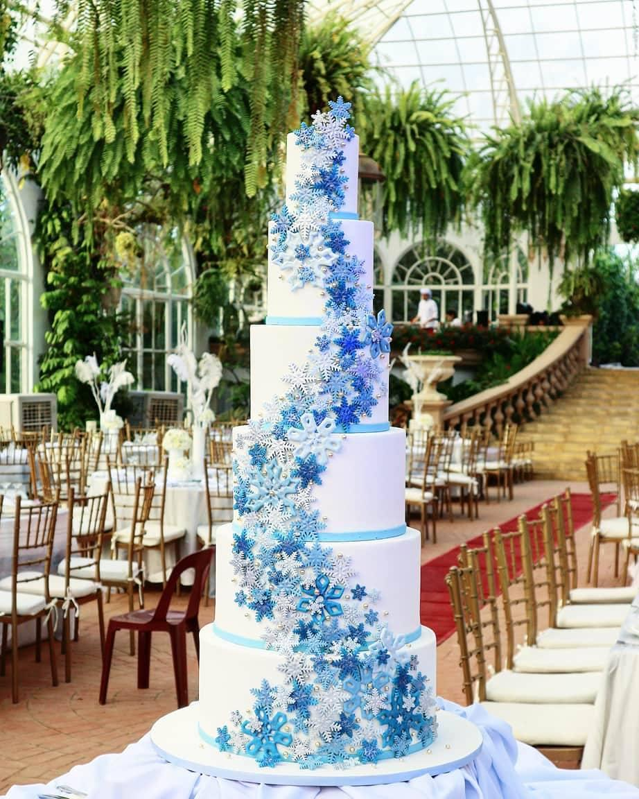 White Wedding cake with blue ombre snowflakes