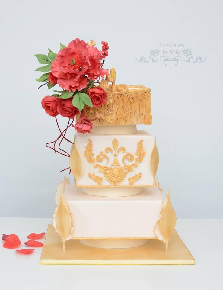 Indian wedding dress cake with gold