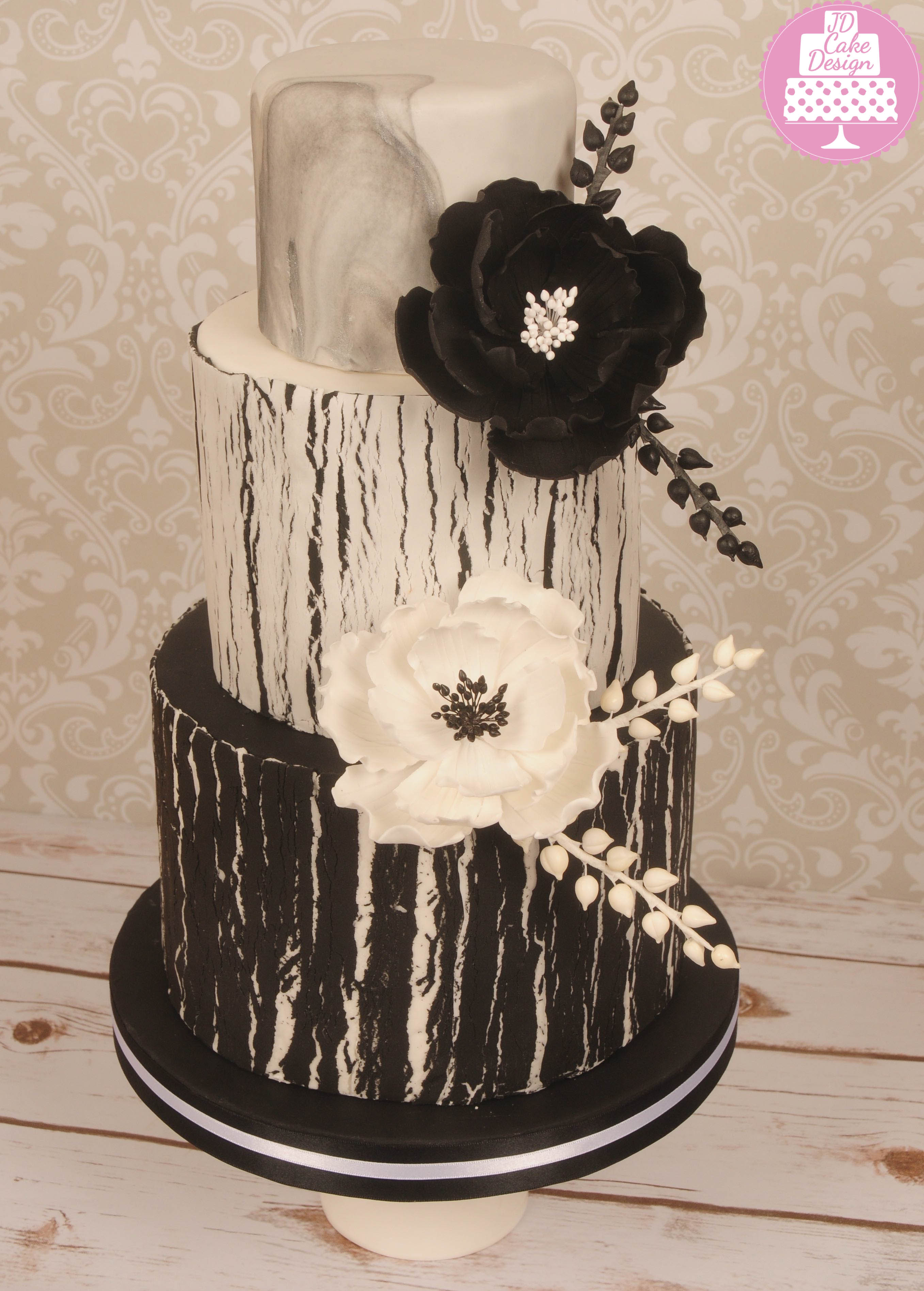 Black and white bark effect wedding cake