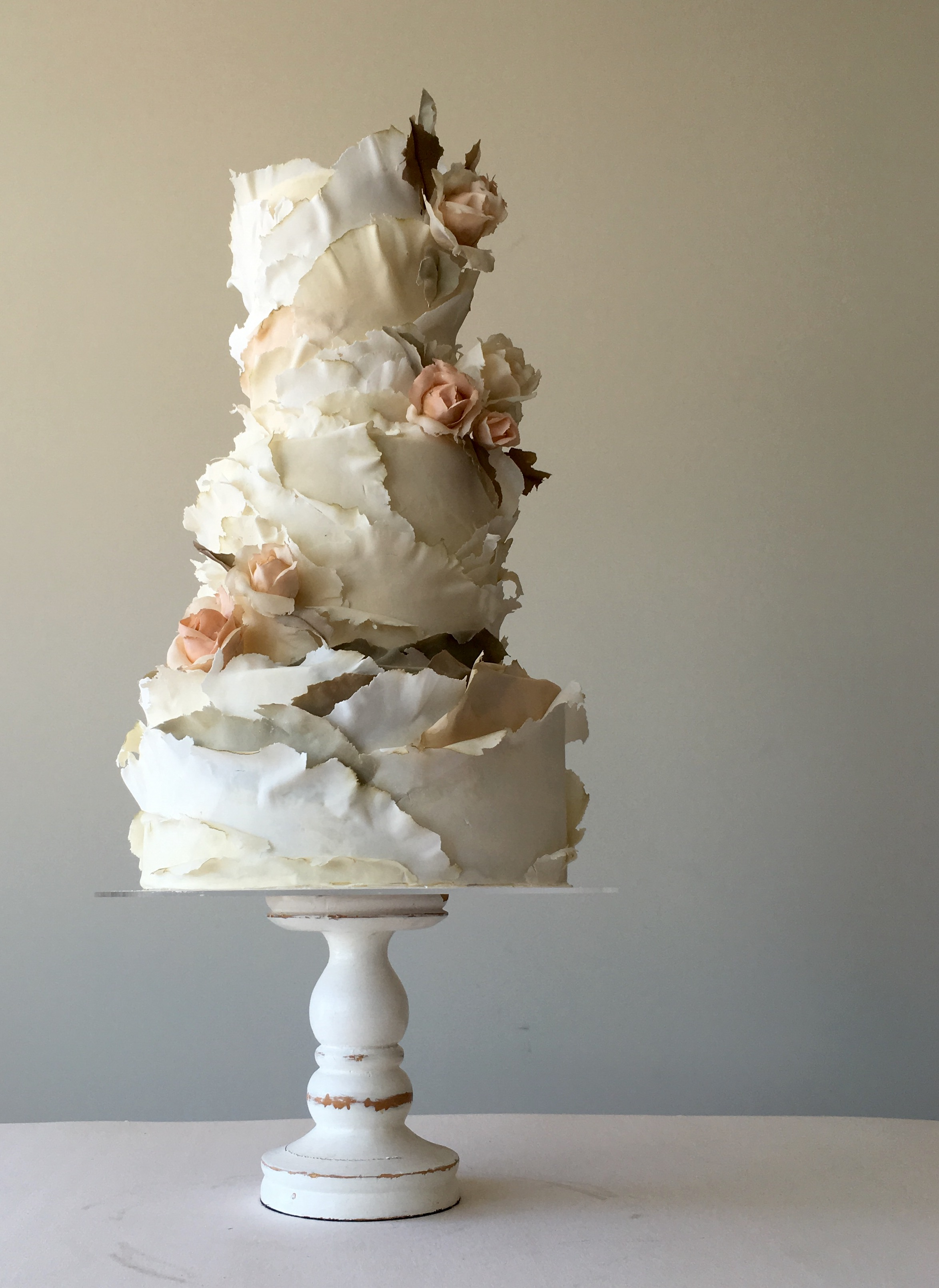 White ruffle frill wedding cake