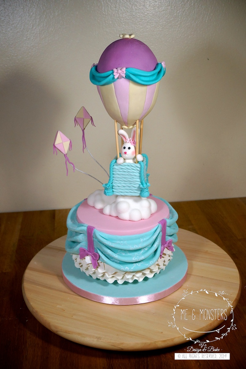 Hot air balloon baby bunny cake