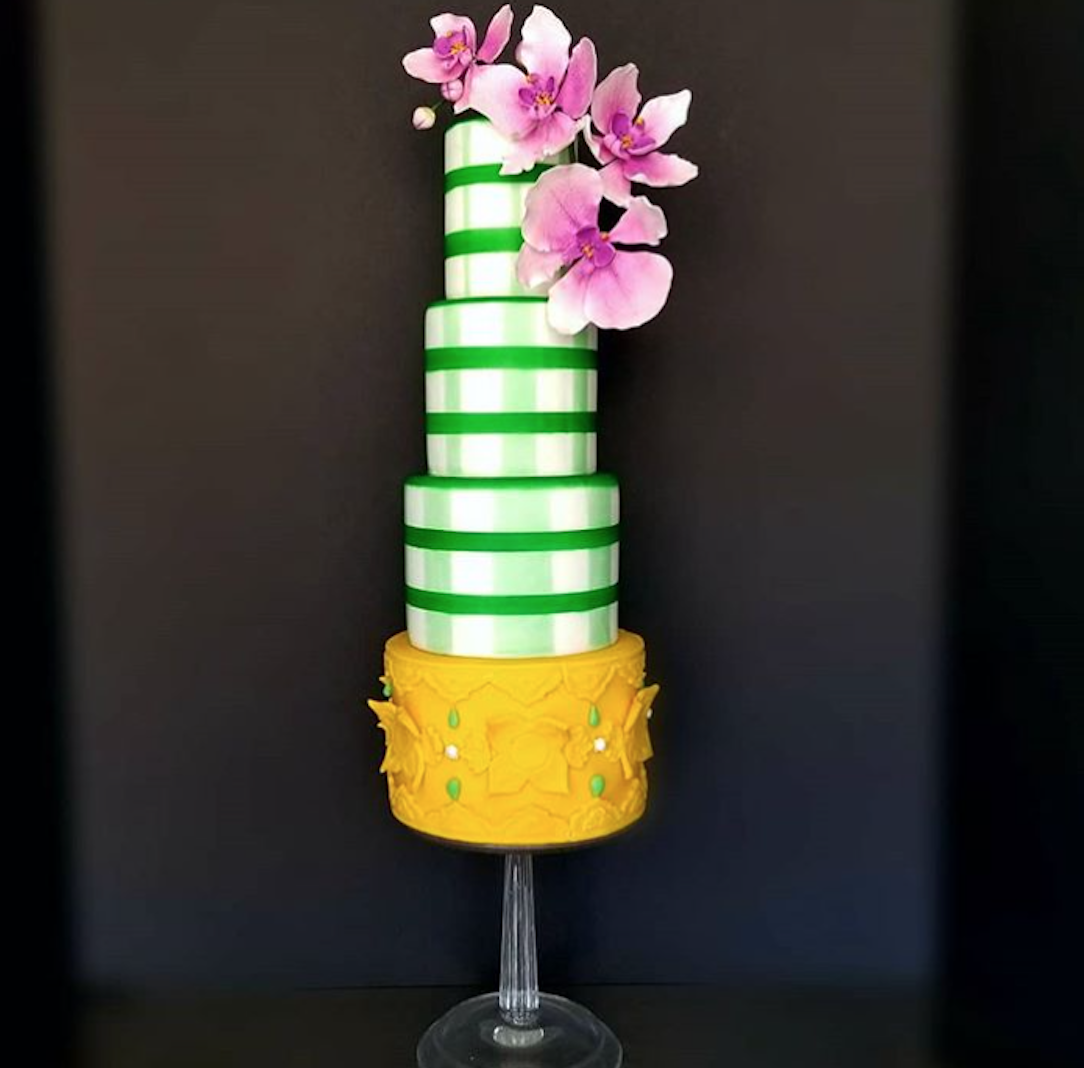 Green and yellow striped fondant wedding caker