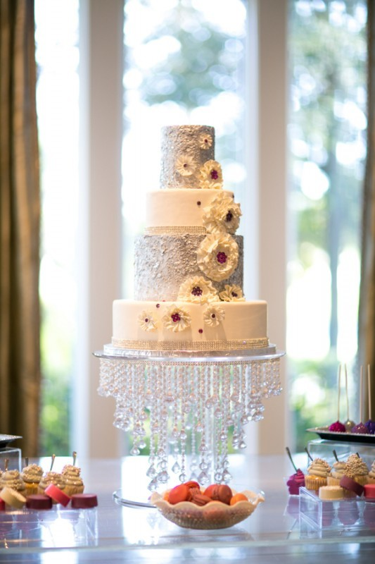 Silver & White fondant sequin Wedding cake