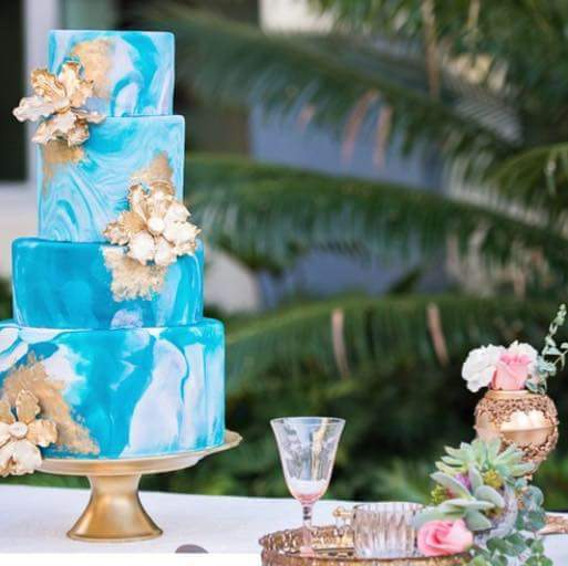 Blue Marbled Wedding cake