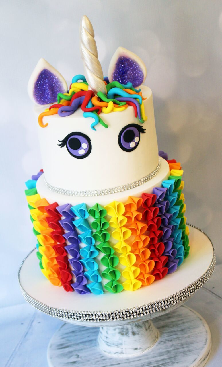 Rainbow girls Birthday unicorn cake