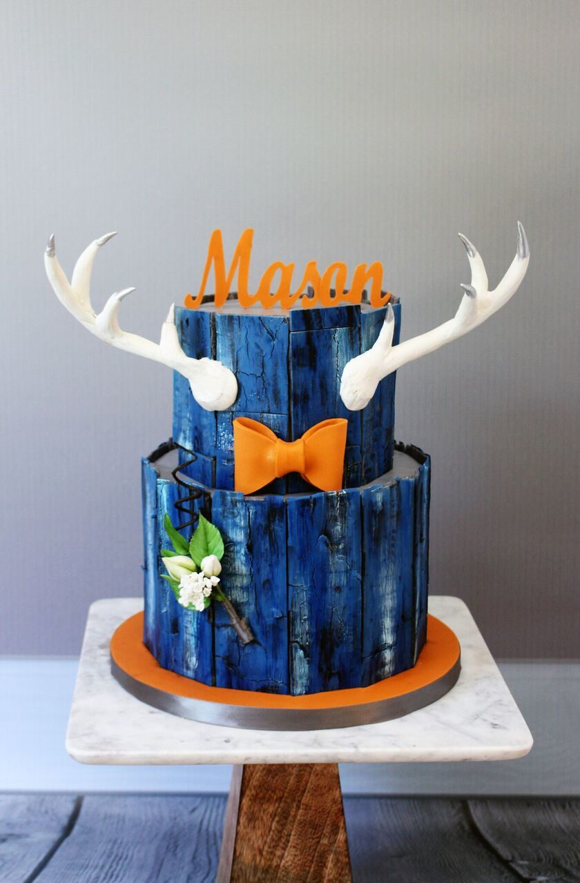 Rustic Boy Birthday cake with antlers