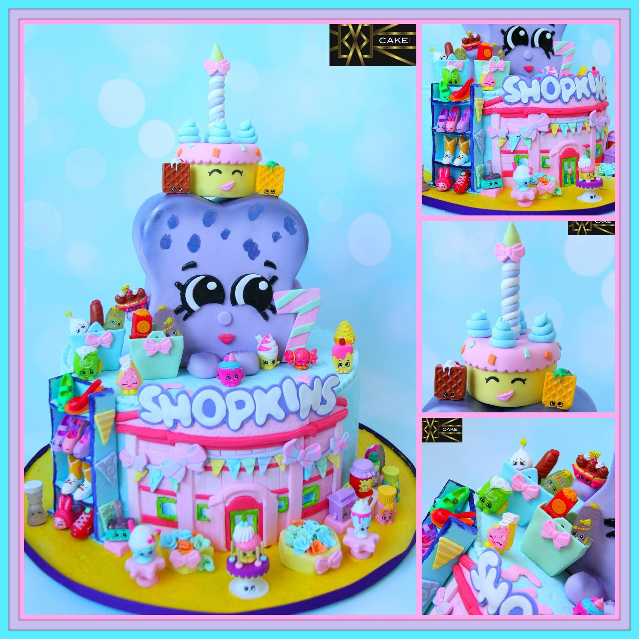 Purple and pink shopkins birthday cake
