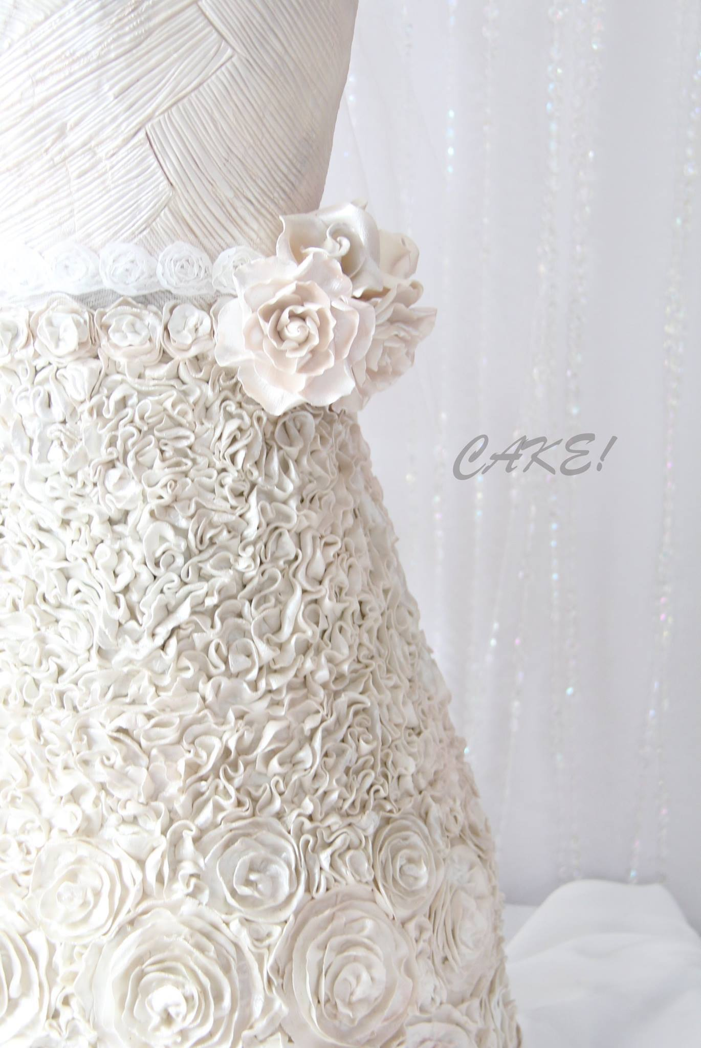 Textured all white Wedding Dress cake