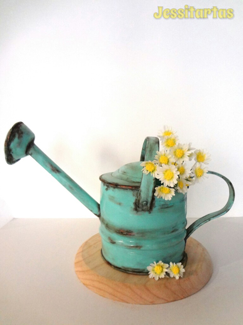 Watering Can shaped fondant Cake