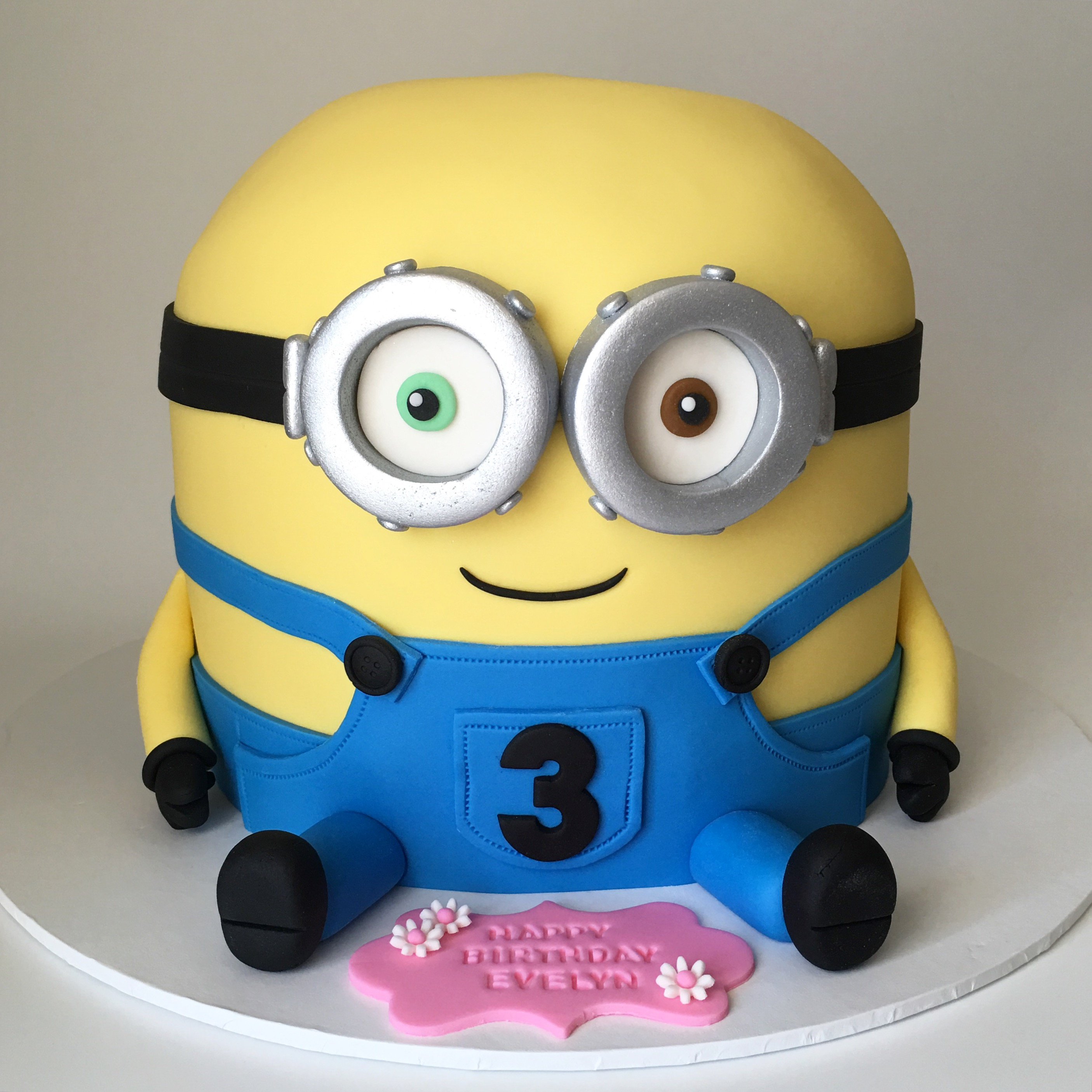 Minion sculpted birthday cake