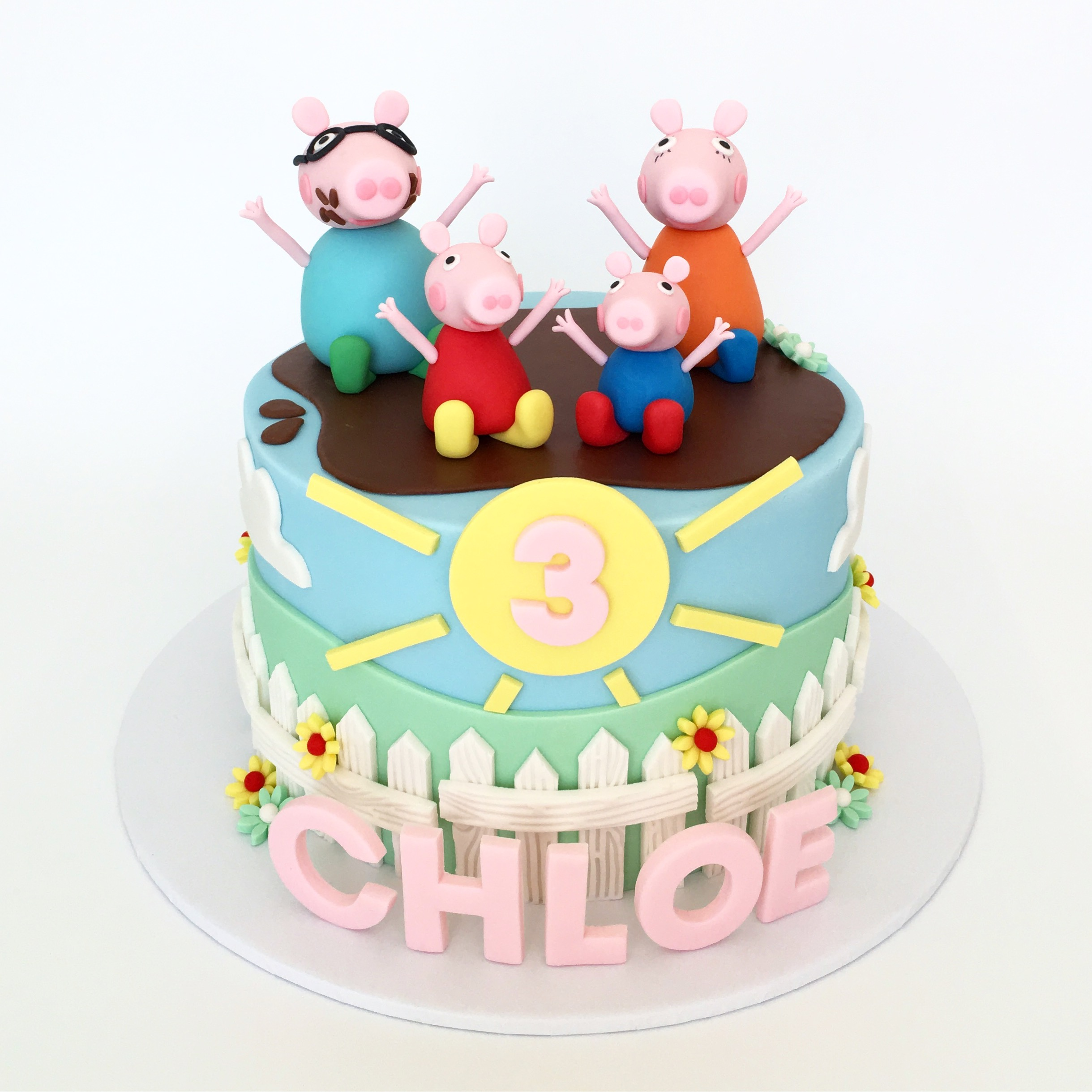 Peppa themed birthday cake