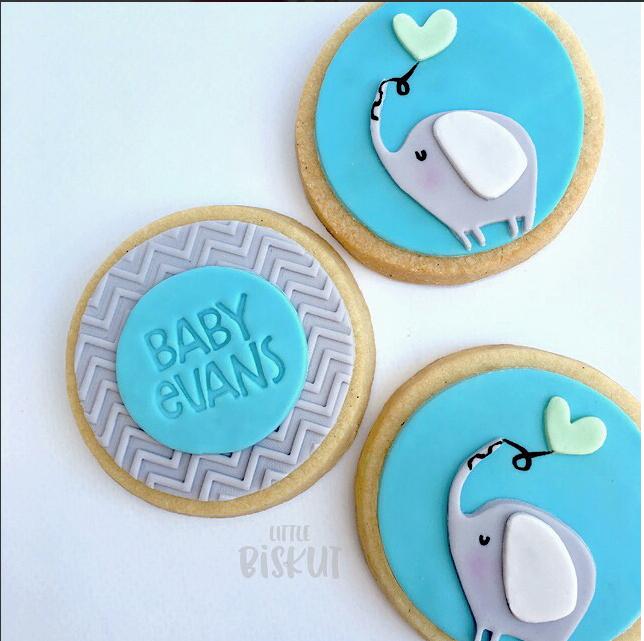 Elephant fondant cookies