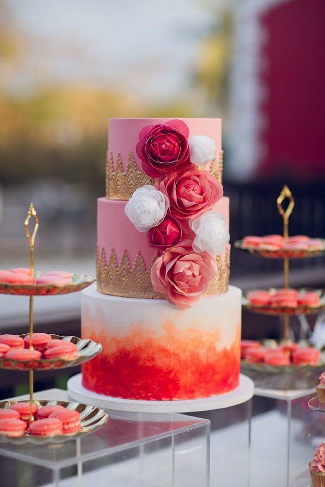 Orange and red fondant wedding cake
