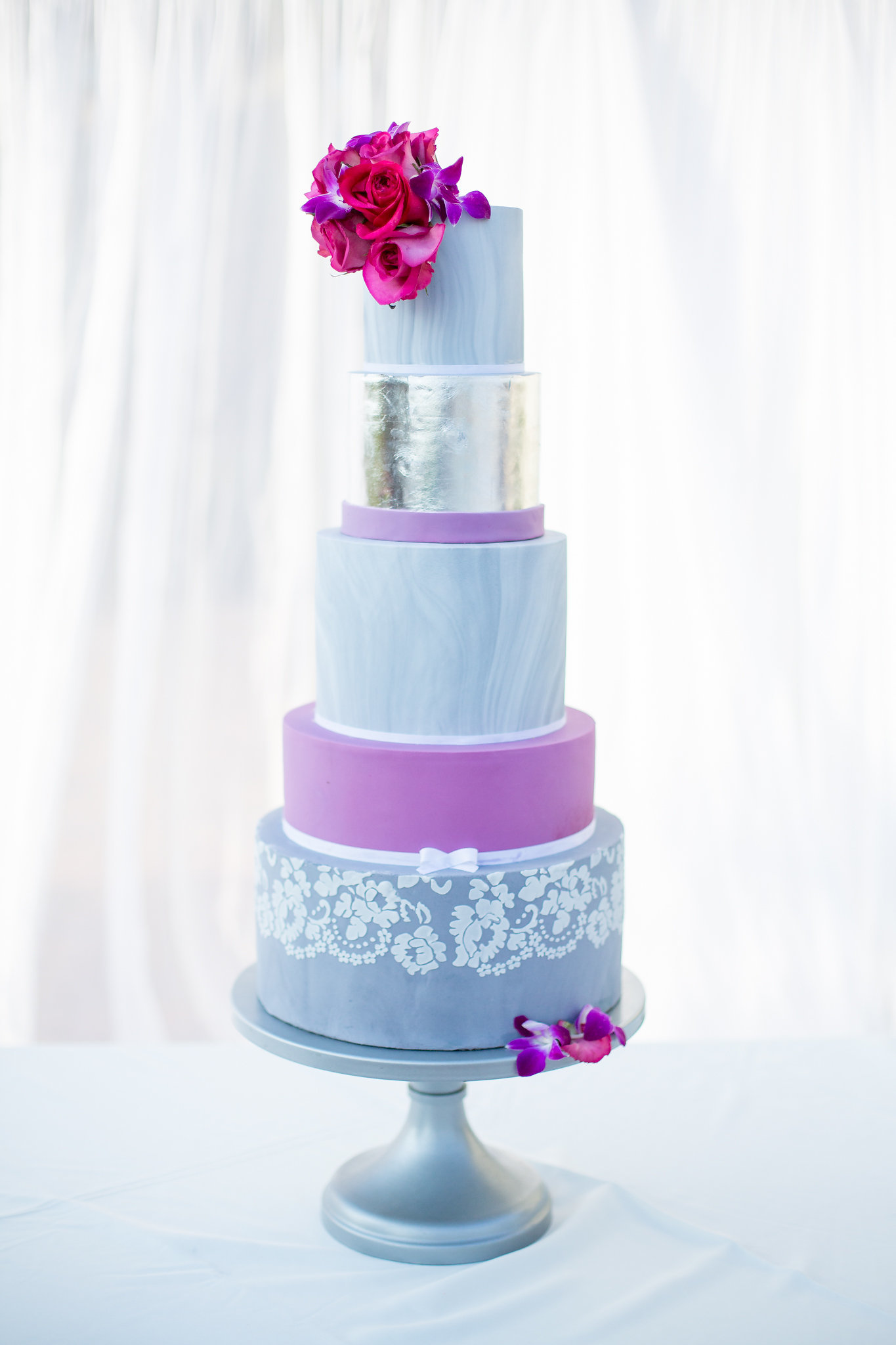 Baby blue with Silver fondant Wedding cake