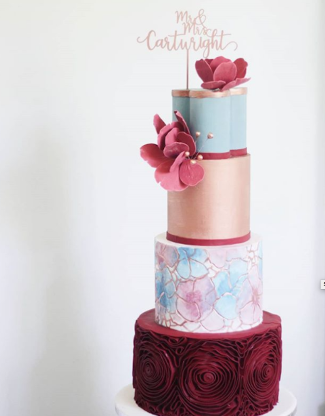 Burgundy and copper fondant wedding cake