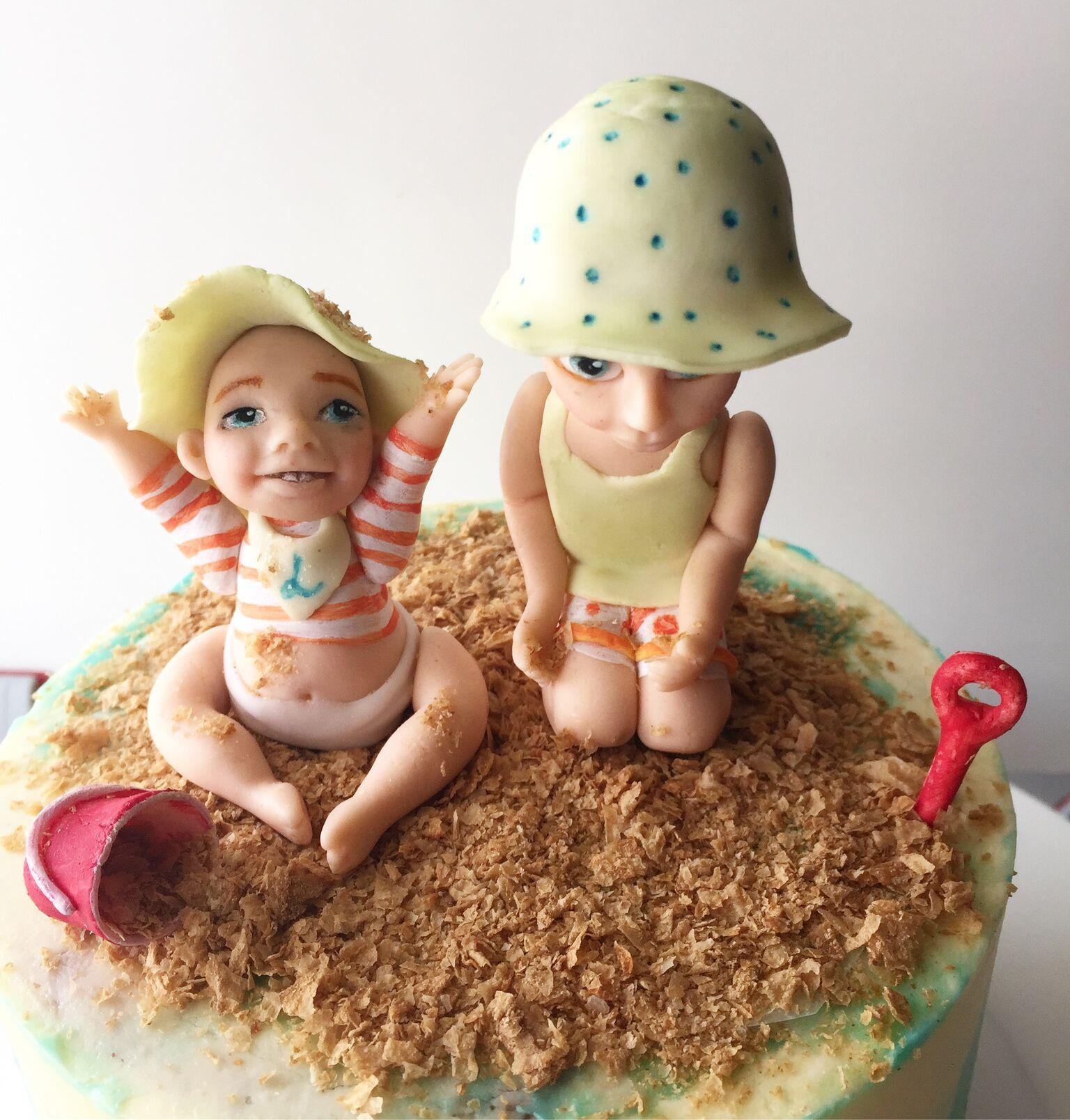 Beach  babies fondant figurines