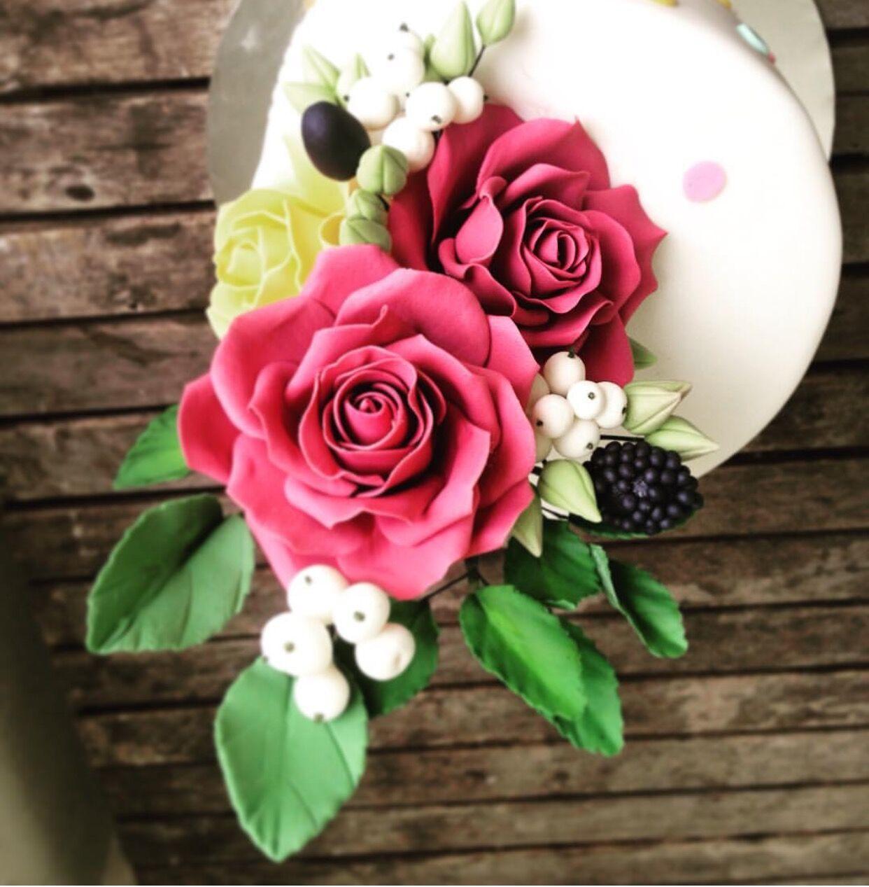 Bright pink sugar roses