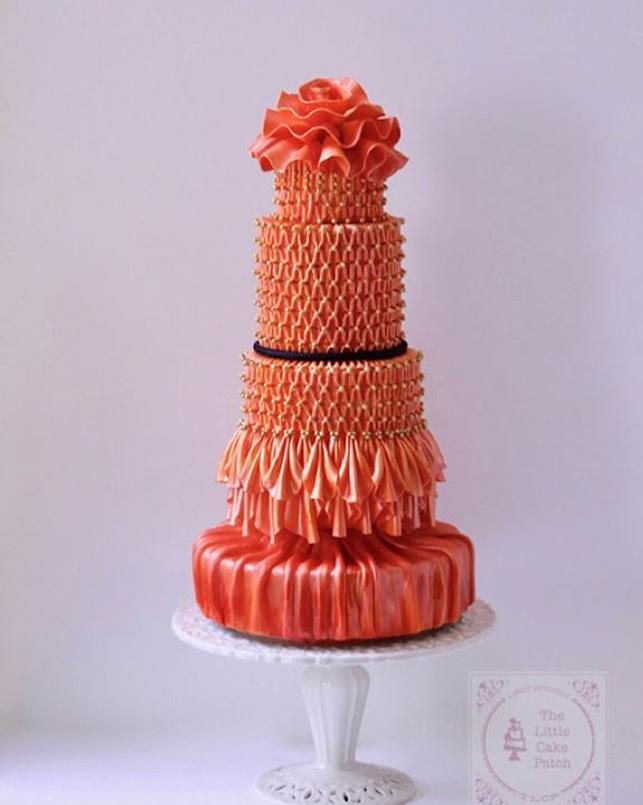 Couture fashion orange fondant cake