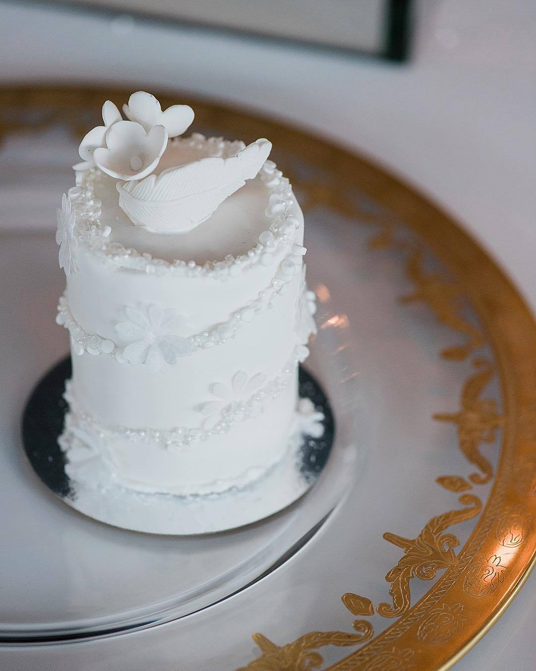 White on white textured fondant cake