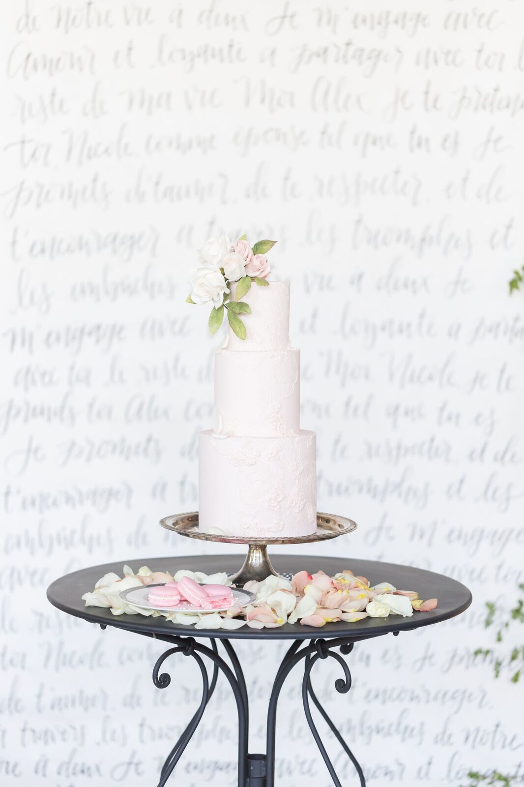 All baby Pink fondant Wedding cake